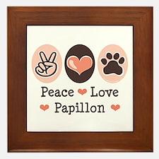 Peace Love Papillon Framed Tile