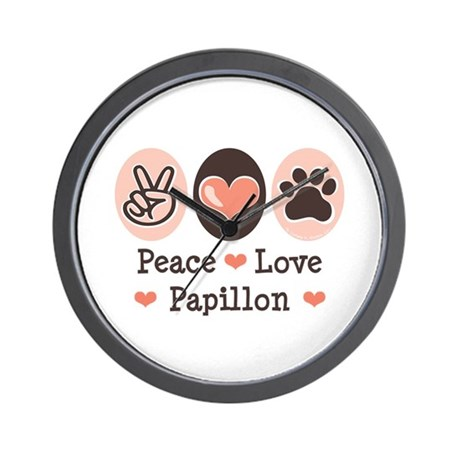 Peace Love Papillon Wall Clock