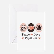 Peace Love Papillon Greeting Card