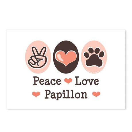 Peace Love Papillon Postcards (Package of 8)