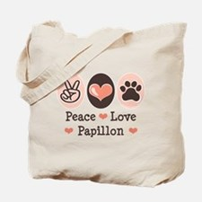 Peace Love Papillon Tote Bag