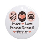Peace Love Parson Russel Terrier Ornament (Round)