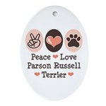 Peace Love Parson Russel Terrier Oval Ornament