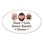 Peace Love Parson Russel Terrier Oval Sticker