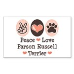 Peace Love Parson Russel Terrier Sticker (Rectangu