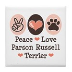 Peace Love Parson Russel Terrier Tile Coaster