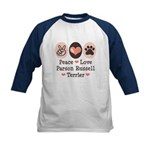 Peace Love Parson Russel Terrier Kids Baseball Jer