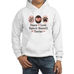 Peace Love Parson Russel Terrier Hooded Sweatshirt
