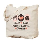 Peace Love Parson Russel Terrier Tote Bag