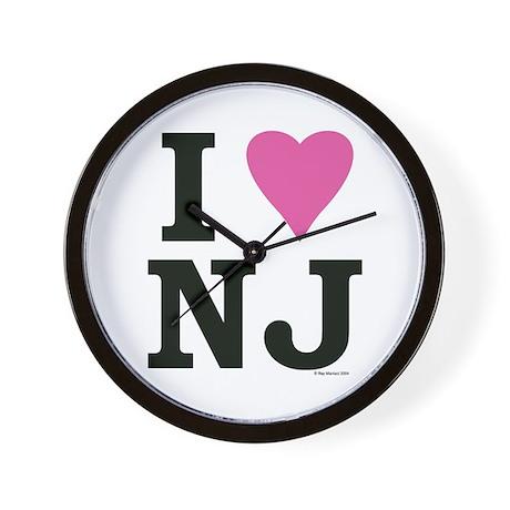 """""""I LOVE NJ"""" Pink Wall Clock"""