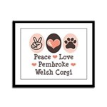 Peace Love Pembroke Corgi Framed Panel Print