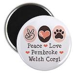 Peace Love Pembroke Corgi Magnet