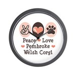 Peace Love Pembroke Corgi Wall Clock