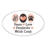 Peace Love Pembroke Corgi Oval Sticker