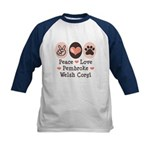 Peace Love Pembroke Corgi Kids Baseball Jersey