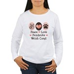 Peace Love Pembroke Corgi Women's Long Sleeve T-Sh
