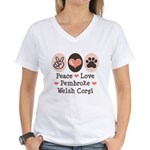 Peace Love Pembroke Corgi Women's V-Neck T-Shirt