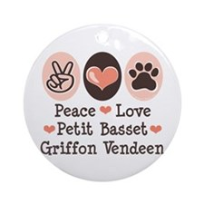 Peace Love PBGV Ornament (Round)