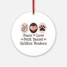 Peace Love PBGV Ornament (Round)