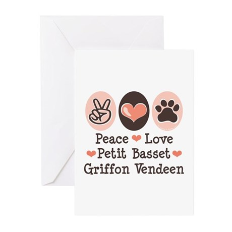Peace Love PBGV Greeting Cards (Pk of 20)