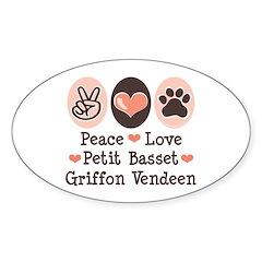 Peace Love PBGV Oval Decal