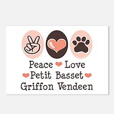 Peace Love PBGV Postcards (Package of 8)