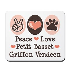 Peace Love PBGV Mousepad
