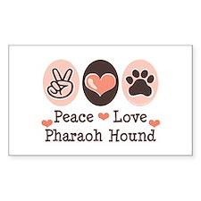 Peace Love Pharaoh Hound Rectangle Decal