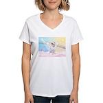 Dog Angel / Pit Bull Women's V-Neck T-Shirt
