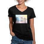 Dog Angel / Pit Bull Women's V-Neck Dark T-Shirt
