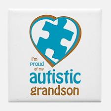 Proud of Grandson (3BB) Tile Coaster