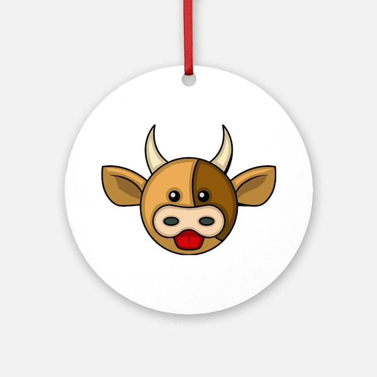 Bull Head Ornament (Round)