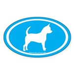 Chihuahua Oval (white on mint) Oval Sticker