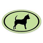 Chihuahua Oval (black on mint) Oval Sticker