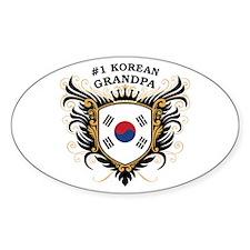 Number One Korean Grandpa Oval Decal
