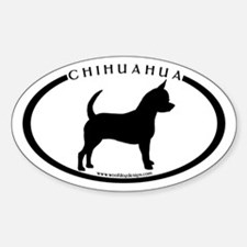 Oval Chihuahua w/text Oval Decal