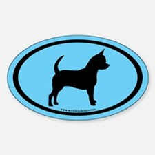 Chihuahua Oval (black on blue) Oval Decal