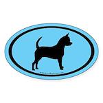 Chihuahua Oval (black on blue) Oval Sticker