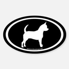 Chihuahua Oval (white on black) Oval Decal
