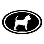 Chihuahua Oval (white on black) Oval Sticker