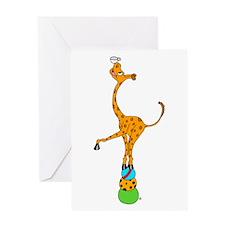 Balancing Circus Cartoon Giraffe Greeting Card
