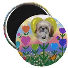 Shih Tzu Heart Flower Magnet