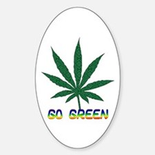 Go Marijuana Green Oval Decal