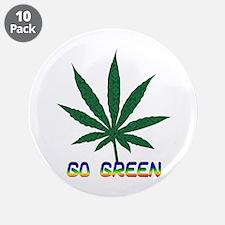 """Go Marijuana Green 3.5"""" Button (10 pack)"""
