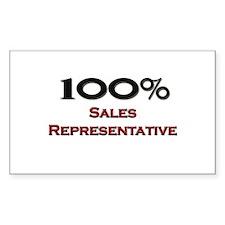 100 Percent Sales Representative Sticker (Rectangu