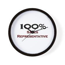 100 Percent Sales Representative Wall Clock