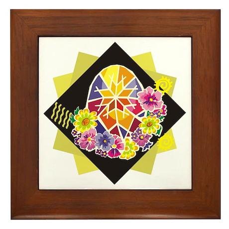 Bright Floral Painted Egg Framed Tile