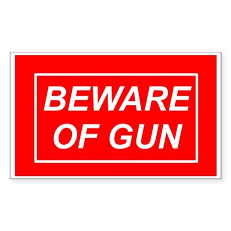 Beware of Gun - Rectangle Sticker
