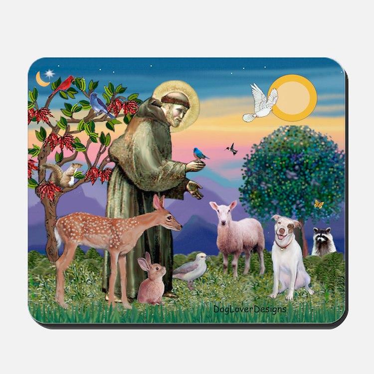 St Francis /Pit Bull Terrier Mousepad