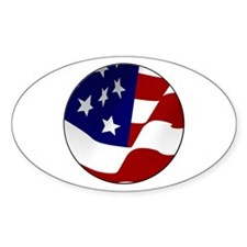 US Flag Motif Oval Decal